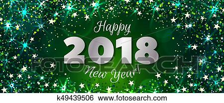 happy new year 2018 greeting horizontal banner festive illustration with colorful confetti party popper and sparkles vector