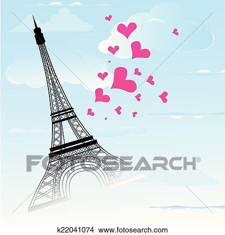 Karte Paris Eiffelturm.Paris Stadt In Frankreich Karte Als Symbol Liebe Und Romanze Reise Clipart