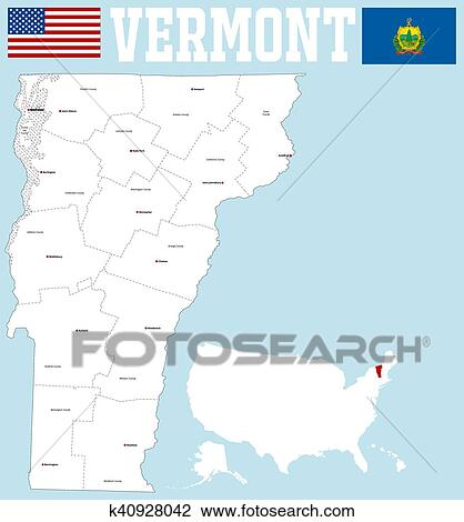 Vermont county map Clipart | k40928042 | Fotosearch
