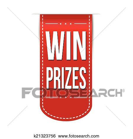 Win prizes banner design Clip Art