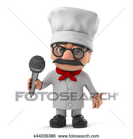 3d, divertido, caricatura, italiano, pizza, chef, carácter, canta, en, el,  micrófono Colección de ilustraciones