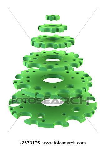 Stock Illustration Of 3d Symbolic New Years Fir Tree K2573175