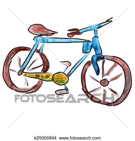 Dessins aquarelle v lo bleu dessin anim figure - Dessin bicyclette ...