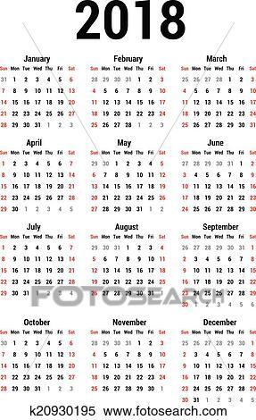 simple calendar for 2018 calendar template