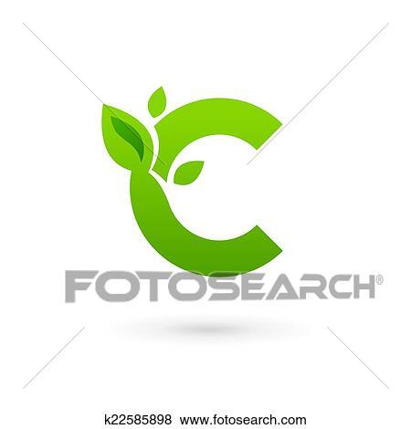 clipart carta c eco folhas logotipo ícone desenho modelo