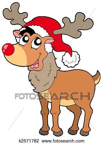 Cartoon Christmas Reindeer Drawing K2571782 Fotosearch