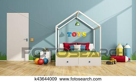 Coloré, enfants, chambre à coucher Banque d\'Illustrations k43644009