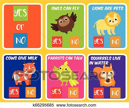 Educational Children Game Yes Or No Animals Theme Fun Page For Kids And Toddlers Learning Cards Clipart K66295685 Fotosearch