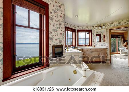 Erstaunlich, blumen-, badezimmer, mit, französische fenster Stock ...