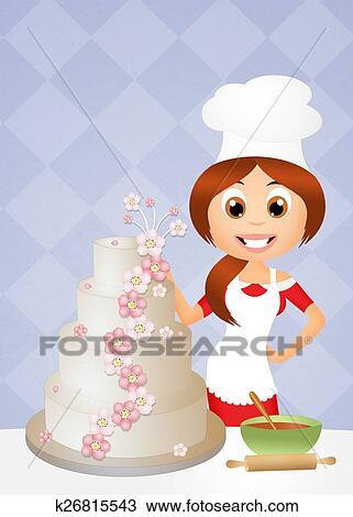 Zeichnung - frau, kochende, kuchen k26815543 - Suche Clipart ...