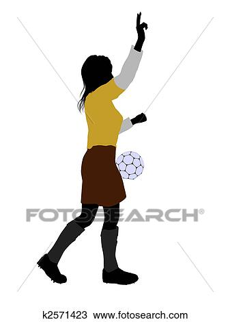 Fussballerin Abbildung Silhouette Zeichnung