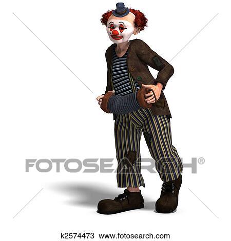 Tekening Gekke Circus Clown Met Partij Van Emoties K2574473