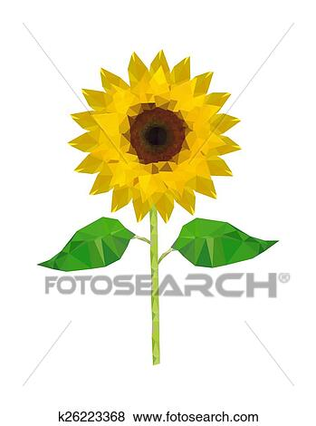Clip Art Of Illustration Of Origami Sunflower K26223368 Search