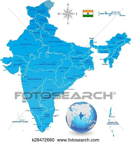 India Vector Map Set With 3d Globe Clipart K28472660