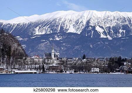 Lake Bled Alps Slovenia Stock Photo K25809298 Fotosearch