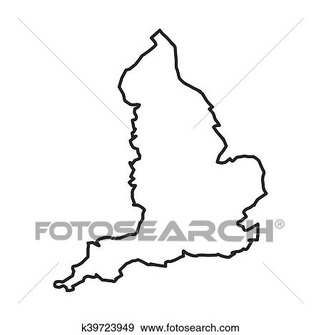 Map Of England Drawing.Map Silhouette England Design Clip Art