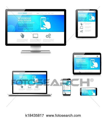 clip art of modern responsive web design comput k18435817 search