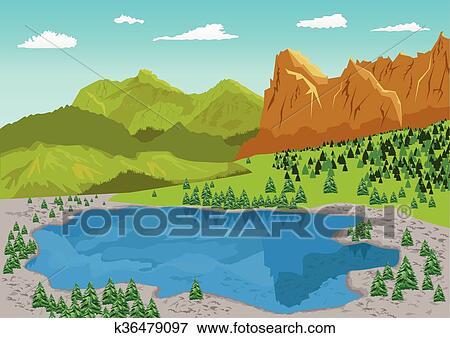 Clip art naturale estate paesaggio con lago montagna for Lago disegno