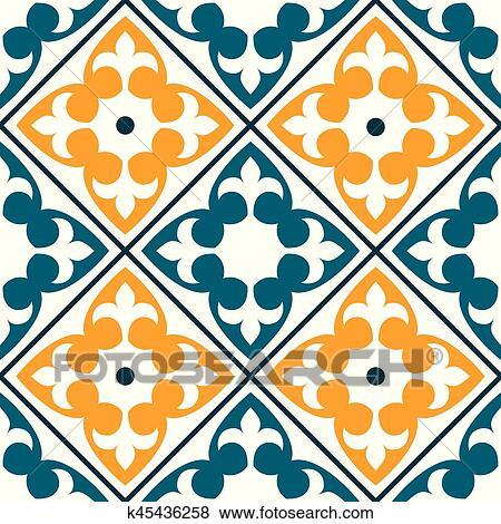 Clip Art Spanish Tile Pattern Portuguese Or Moroccan Tiles Design Seamless In Dark