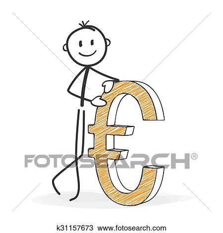 Clipart Of Stick Figure Cartoon Stickman With A Euro Icon