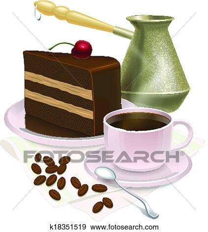 Clip Art Tasse Kaffee Und Kostlich Kuchen Weiss Hintergrund