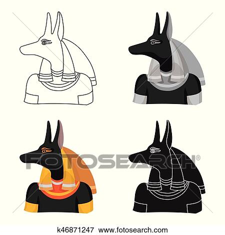 Anubis icon in cartoon style isolated on white background  Ancient Egypt  symbol stock vector illustration  Clip Art