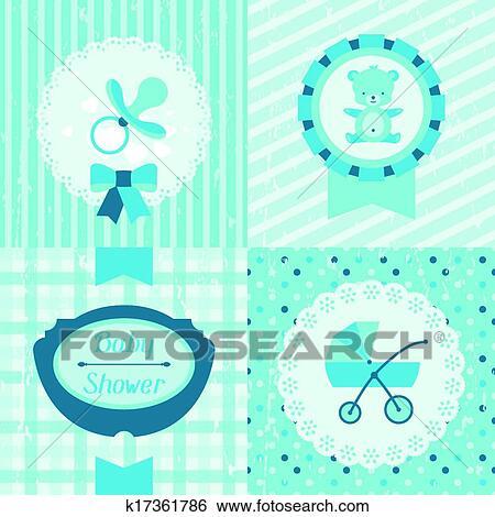 Boy Baby Shower Invitation Cards Clip Art K17361786