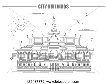 Clip art of city buildings graphic template royal palace cambodia city buildings graphic template royal palace cambodia vector illustration maxwellsz