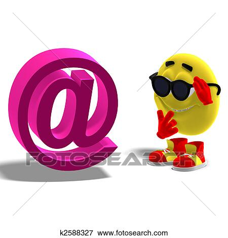 Stock Illustration Of Cool And Funny Emoticon Looking At The At