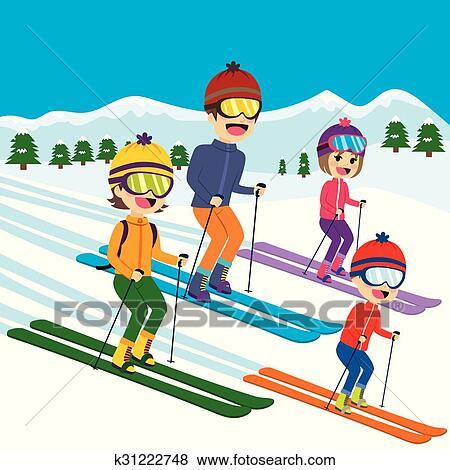 Clipart famille ski neige k31222748 recherchez des - Ski alpin dessin ...