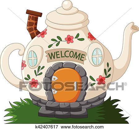 Clip Art Of Fantasy Teapot Houses Cartoon K42407617 Search Clipart