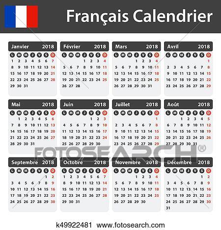 Calendario Frances.Frances Calendario Para 2018 Planificador Agenda O Diario Template Semana Comienzos En Lunes Clipart