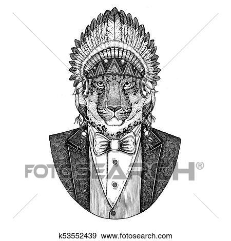 Colección de ilustraciones - gato salvaje, leopardo, cat-o\'-mountain ...