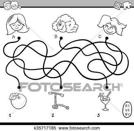 Clipart - laberinto, actividad, libro colorear k35717185 - Buscar ...