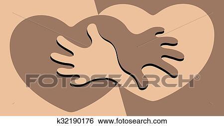 Clip Art Nero Bianco Amicizia K32190176 Cerca Clipart Poster