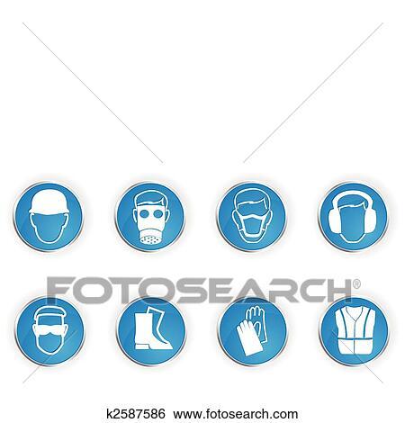 Clip Art Of Safety Symbols K2587586 Search Clipart Illustration