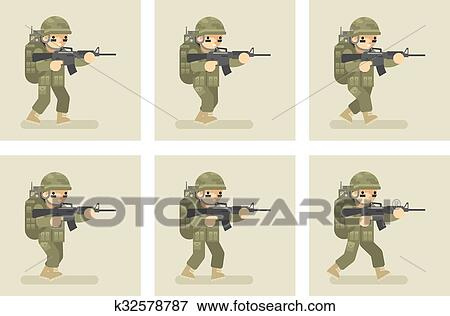 clipart soldado apartamento desenho corrida animação bordas
