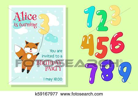 Vector Birthday Invitation With Fox And Numbers Clip Art