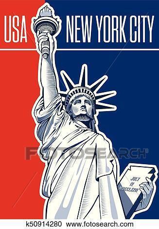 自由の女神 アメリカ シンボル ニューヨークシティ クリップアート