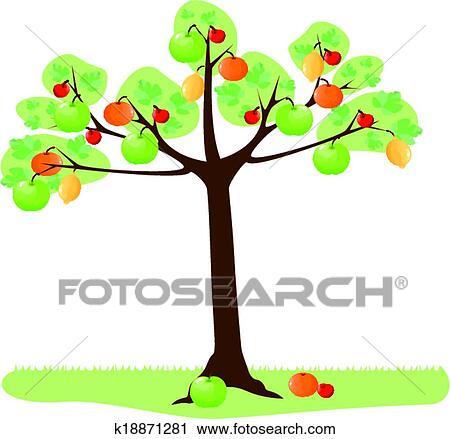 Clipart albero con frutta k18871281 cerca clipart for Clipart frutta