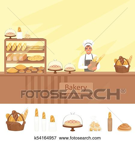 Bakery Shop Illustration With Baker Character Next To A