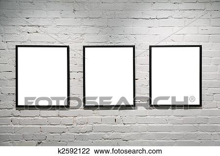 Stock Photo of black frames on white brick wall 3 k2592122 - Search ...