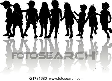 Children Silhouette Clip Art - Royalty Free - GoGraph