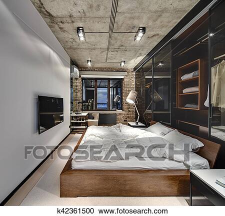 Grenier, style, chambre à coucher Banque d\'Image