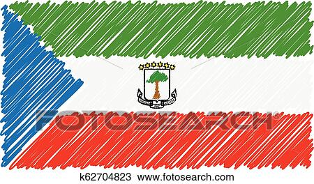Hand Drawn National Flag Of Equatorial Guinea Isolated On A White Background Vector Sketch Style Illustration Clipart