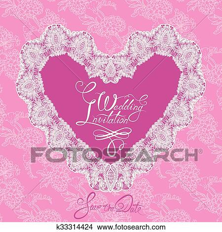 White Heart Shape Is Made Of Lace Doily On Pink Floral