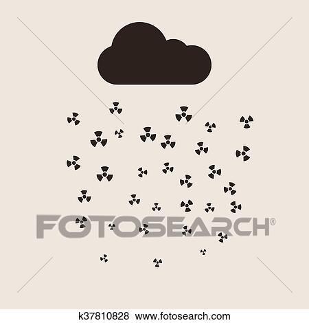 酸性雨 そして 放射性 雲 ベクトル 平ら Concept ベクトル