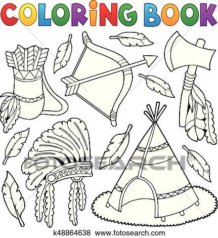 Coloring book Native American theme 1 Clip Art | k48864638 | Fotosearch
