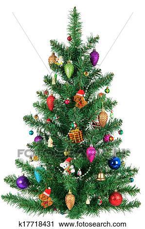 Bild Tannenbaum.Dekoriert Weihnachten Tannenbaum Freigestellt Weiß Hintergrund Stock Bild