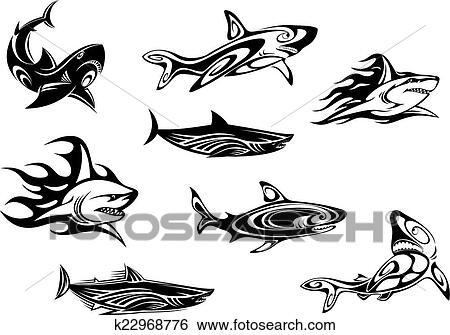 Fierce Shark Tattoo Icons Clip Art